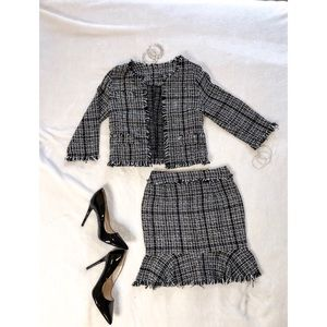 Black and White Tweed Skirt and Jacket Set